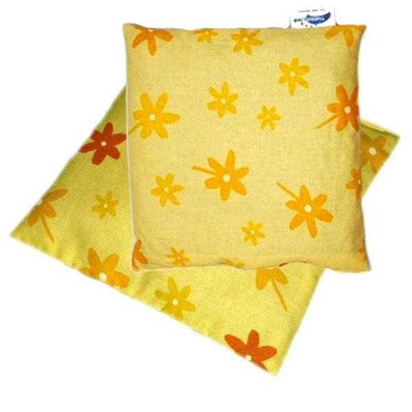 Nahřívací/chladící polštářek z třešňových pecek žlutý